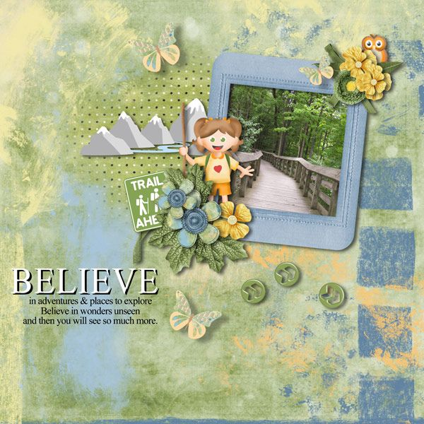 Believe by Tbear. Kit used: Trail Ahead 2 http://scrapbird.com/designers-c-73/k-m-c-73_516/mamrotka-designs-c-73_516_85/trail-ahead-2-p-16653.html