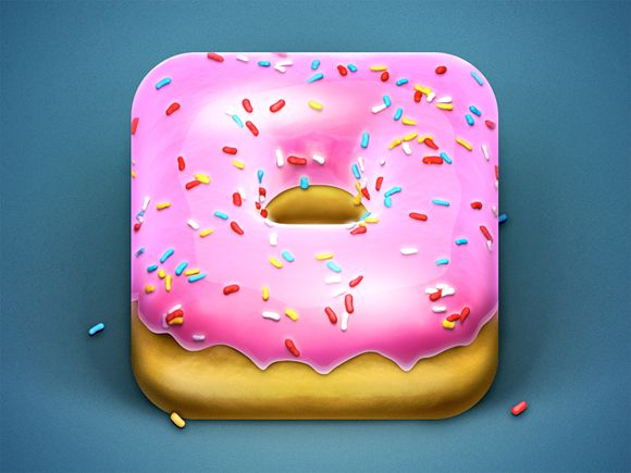 Donut App Icon by Konstantin Datz. 18 Mouthwatering Food #App #Icons