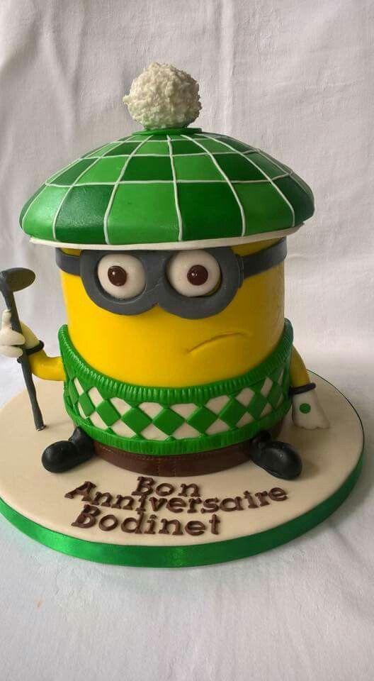 Minion golf cake fondant