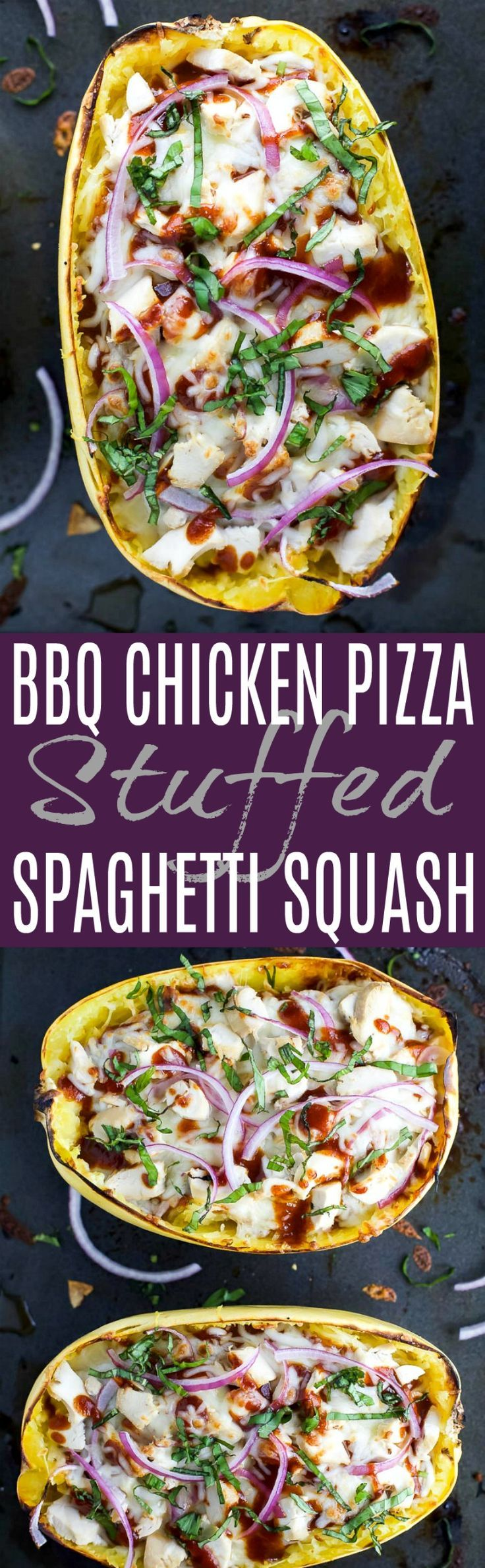Easy Low Carb BBQ Chicken Pizza Stuffed Spaghetti Squash - filled with sweet tangy BBQ sauce, 22 grams of protein and gooey cheese. All your favorite things about BBQ Chicken Pizza for under 300 calories! #glutenfree