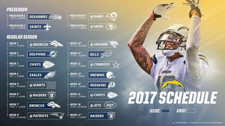 "2017-18 LOS ANGELES CHARGERS  SCHEDULE FRIDGE MAGNET (LARGE 6.5""X4"") 