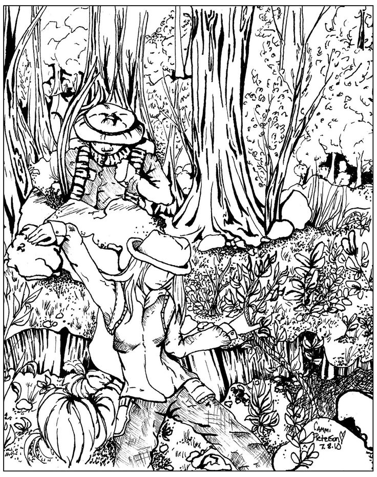 free coloring page coloring lost in forest lost in the forest - Coloring Page Jungle