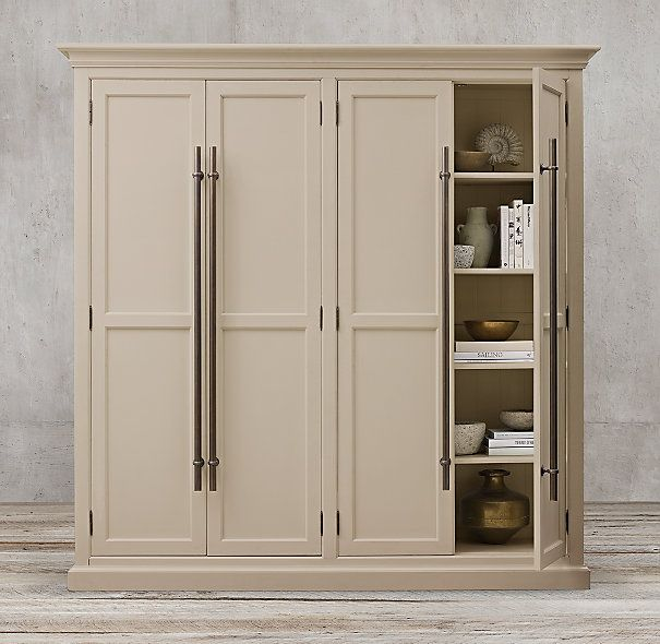 30 Classic Home Library Design Ideas Imposing Style: 20th C. English Brass Bar Pull Panel 4-Door Cabinet This