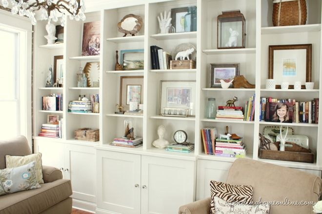 """Finding Home"" gives us these Lessons Learned in Styling a Bookcase. Read the whole thing to see how these tightly packed built-ins were edited for an airy, cohesive look (hint: limited palette of cream, wood, brass, and blue). Pay special attention to how some shelves are layered, while others breathe freely with only one or two items."
