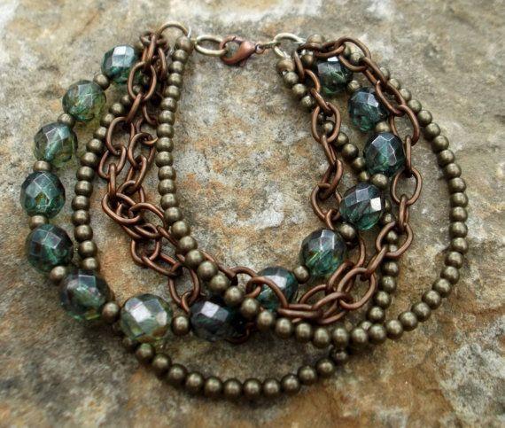 Mixed metal & bead multistrand bracelet by CarolineCjewellery, £14.00
