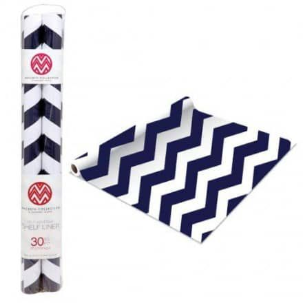 MACBETH COLLECTION SELF-ADHESIVE SHELF LINER 2-PACK - RUGBY CHEVRON NAVY - ShopBobbys.com