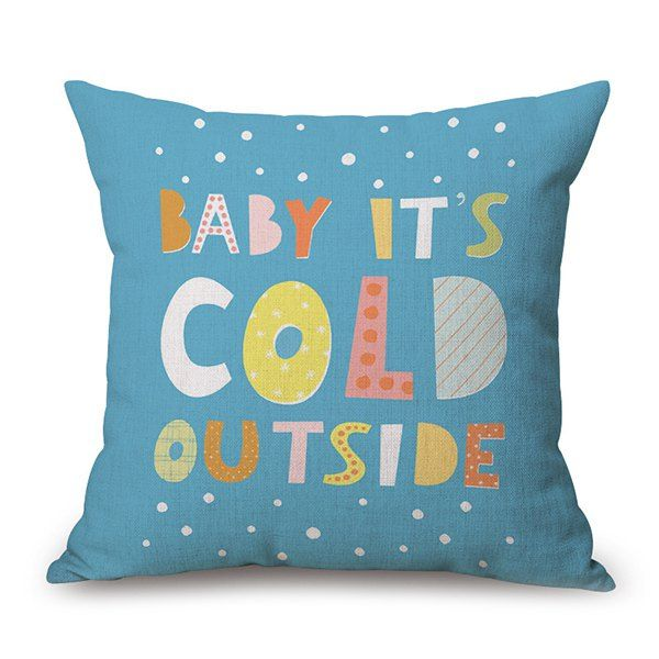 It's Cold Outside Quote Cartoon Flax Cushion Pillow Case