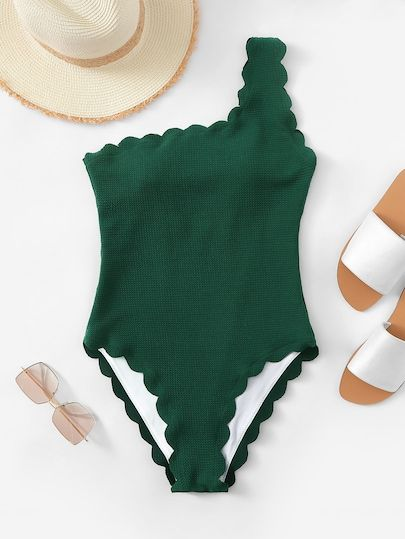 334f315435 $20 Shop Scalloped Trim One Shoulder One Piece Swimsuit online Australia, SHEIN offers huge selection of One-Pieces more to fit your fashionable  needs.