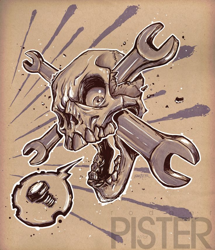 Skull wrench by on deviantart for Piston and wrench tattoo