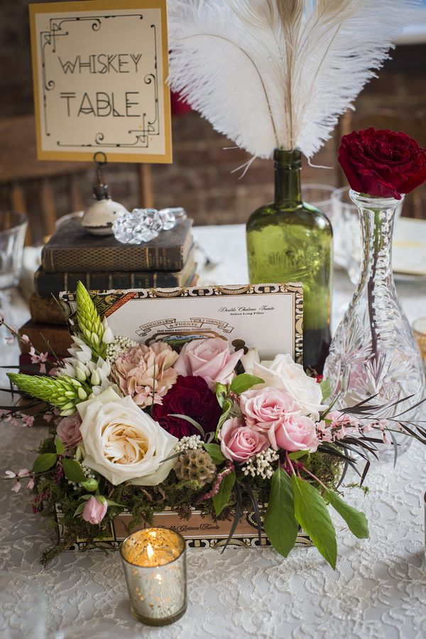 Prohibition Era themed Speakeasy wedding with a red, black, and gold palette 22