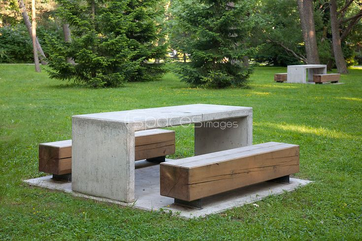 Professional Stock Photo: Simple Park Benches and Tables - Spaces ...