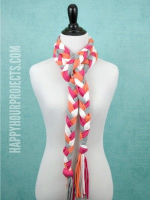 Recycled T-Shirt Project | No-Sew Braided Tassel Scarf- Adrianne ...