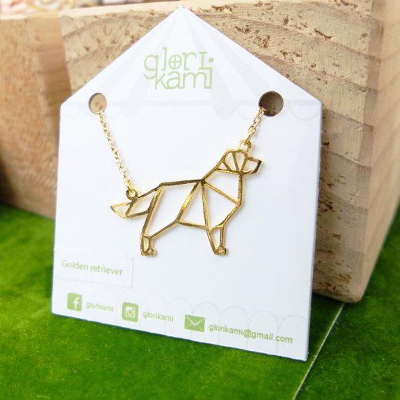 Glorikami ,Golden Retriever, Origami dog Necklace, Dog Necklace, Retriever necklace, Dog jewelry, Origami Necklace, Animal Necklace,Dog Gift