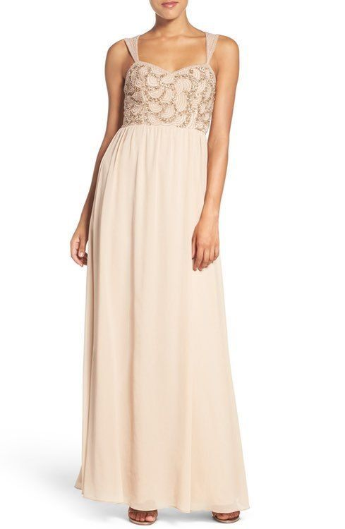 99a6f036be29 ADRIANNA PAPELL BEADED BODICE V-NECK CHIFFON CHAMPAGNE GOWN DRESS sz 6 # ADRIANNAPAPELL #ALINE #Formal