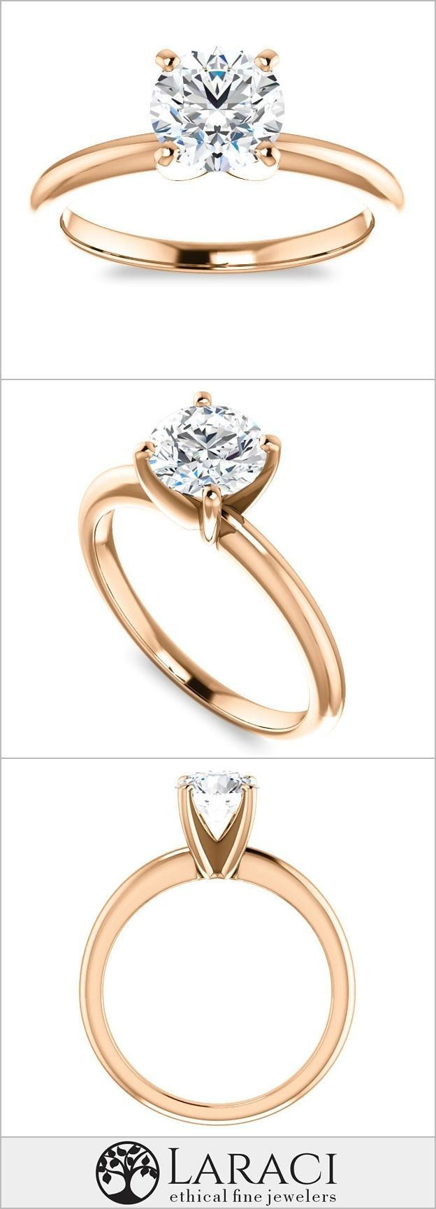 18K Rose Gold Solitaire Engagement Ring set with a 1.9ct (8mm) Round Forever One Near Colorless Moissanite