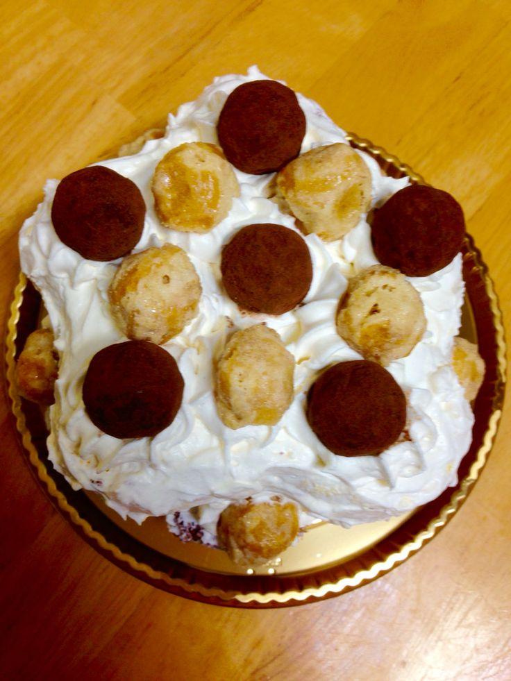 Homemade truffle chocolate whipped sponge cake
