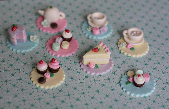 Fondant Tea Party Toppers with Teapot Teacups by parkersflourpatch via Etsy