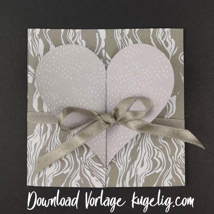 Schlichte Hochzeitskarte basteln – mit Bastelvorlage & Plotterfreebie