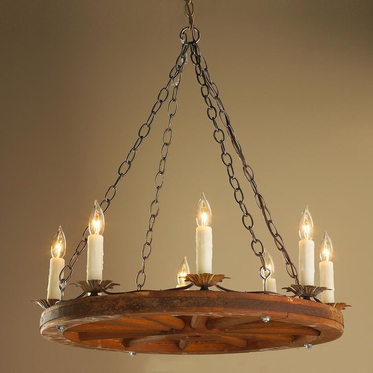 Wagon Wheel Light Chandelier: Antique 24 Inch Wagon Wheel Chandelier