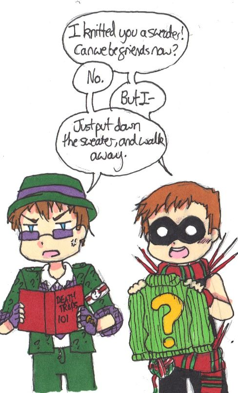 """Casually jumping on The Knitter bandwagon, who is, by the way, the greatest villain ever. And stahp it Edward, he just wants to be friends. """"I knitted you a sweater! Can we be friends now?"""" """"No."""" """"But..."""