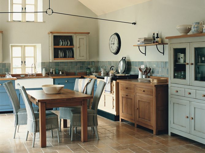 Open Kitchen With Shades Of Blue, Wood, White, And Metal Accents · French  Kitchen DecorFreestanding ...