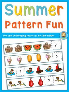 Pattern activities with a summer theme for preschool and kindergarten. This set has 10 different cut and paste patterning sheets plus 4 different find the pattern sheets. They all come in color and black/white.