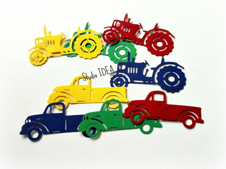 Primary Colors Truck & Tractor Cut outs, Die cut, Confetti, Embellishments…