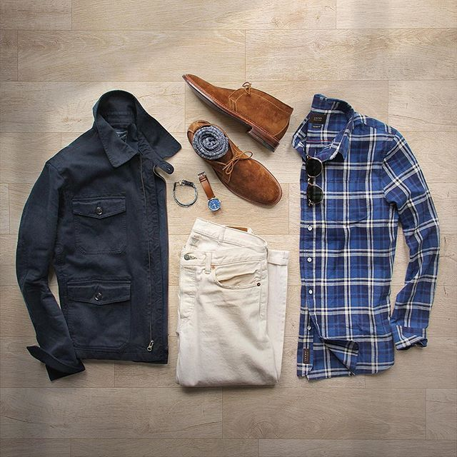 Getting springy with it.  Shirt: @jachsny Blue and White Plaid Shoes: @brickmortarseattle Alden Snuff Suede Chukka Socks: @americantrench Random Plate in Cotton Jacket: @grayers Gilbert Short Jacket Denim: RRL @ralphlauren Watch: @tsovet Bracelet: @caputoandco  #jachsny #collaboration #flatlay - mens dress brown shoes, boots mens shoes, discount mens shoes