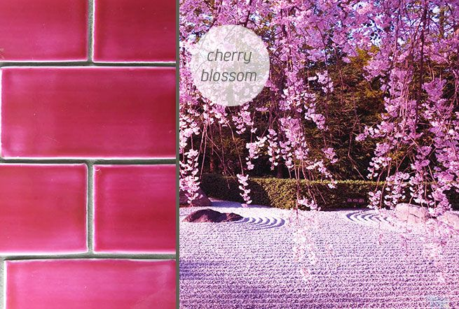 Cherry Blossom pink tiles. Handmade in New Zealand by Middle Earth Tiles.