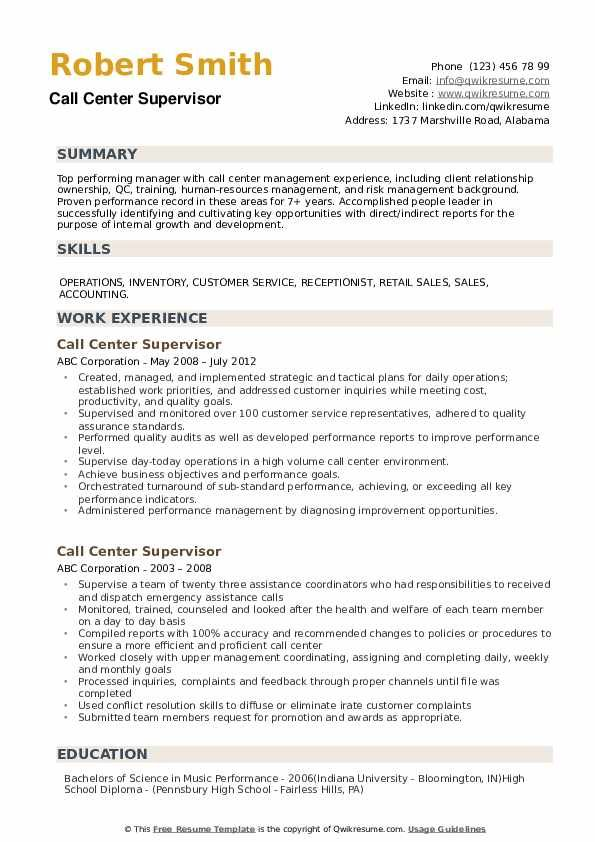 Call Center Supervisor Resume Louiesportsmouth Com Resume Examples Customer Service Resume Teacher Resume Examples