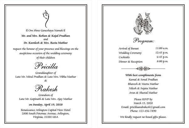 33 Beautiful Example Of Invitation Card In English Photos Hindu Wedding Invitation Wording Indian Wedding Invitation Wording Wedding Card Wordings
