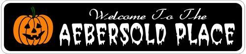 AEBERSOLD PLACE Lastname Halloween Sign - 4 x 18 Inches by The Lizton Sign Shop. $12.99. Predrillied for Hanging. Aluminum Brand New Sign. Rounded Corners. Great Gift Idea. 4 x 18 Inches. AEBERSOLD PLACE Lastname Halloween Sign 4 x 18 Inches - Aluminum personalized brand new sign for your Autumn and Halloween Decor. Made of aluminum and high quality lettering and graphics. Made to last for years outdoors and the sign makes an excellent decor piece for indoors. ...