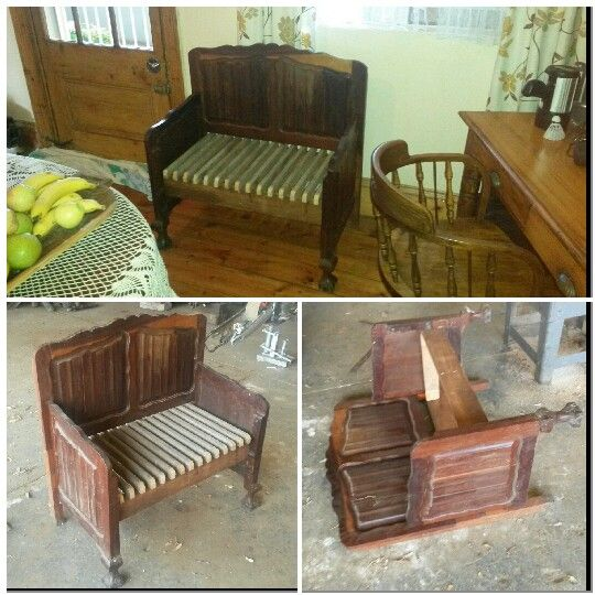 Garden bench, house bench, made from headboard and footboard. Vintage look, love seat.