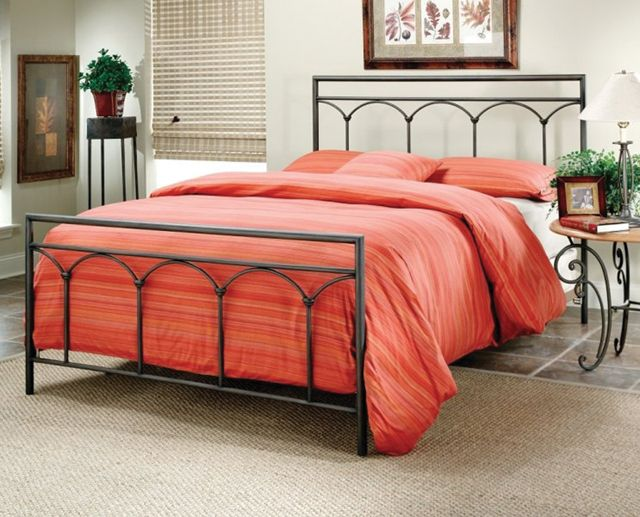 queen black metal bed frame with a luxurious look coloured red wrought iron