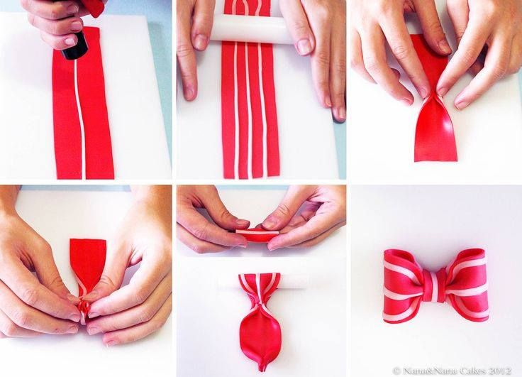 How to make a striped fondant bow.