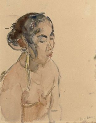 Isaac Israels (1865-1934) | A portrait of an Indonesian girl watercolour on paper | 19th Century, Drawings & Watercolors | Christie's