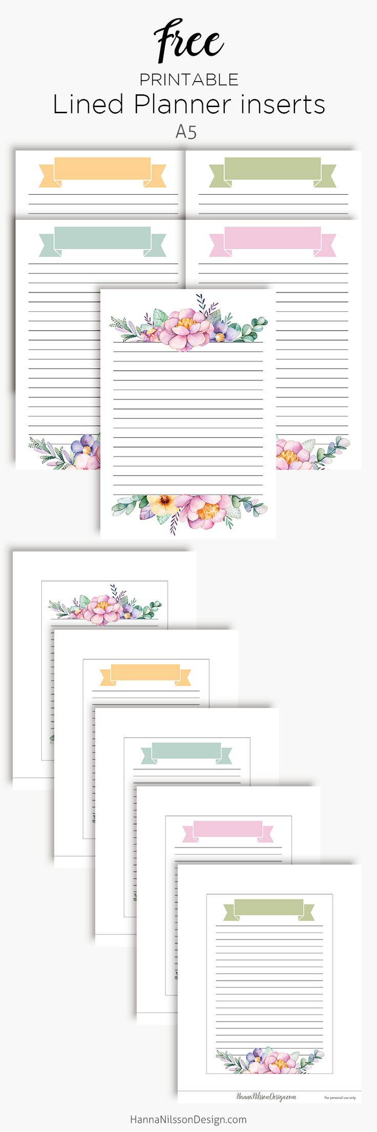 Free Printable Lined Floral Planner Inserts | A5 planner | Personal Filofax {subscription required}