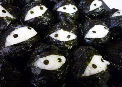Ninja rice balls. Just have some fun with your kid. You don't have to wait the Halloween