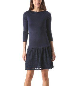 Abito in maglia e pizzo blu marino - Promod