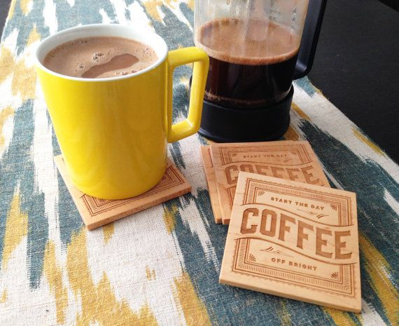 COFFEE Wood Coasters Laser Engraved by GRAINHAUS on Etsy, $25.00
