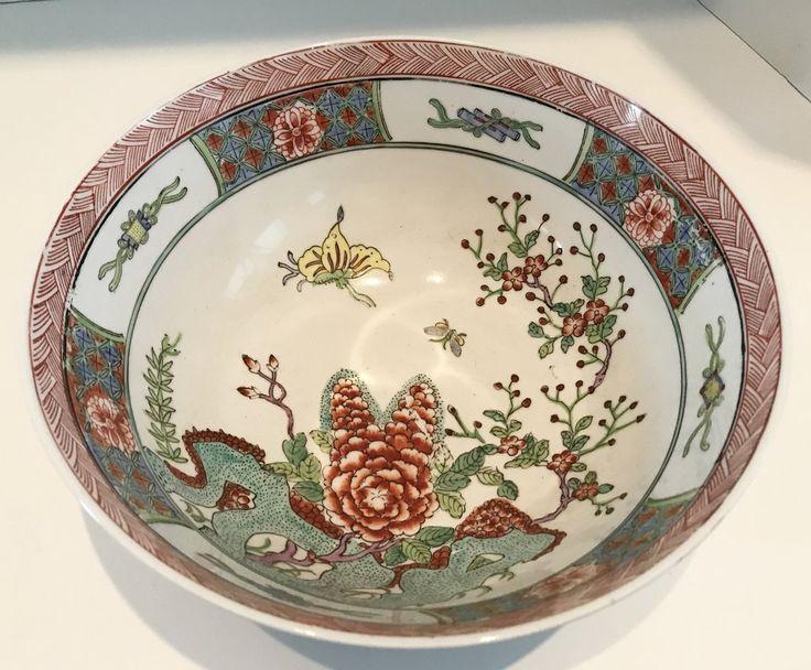 "Vintage Japanese  C.F. Porcelain Ware 10"" Bowl Decorated in Hong Kong"