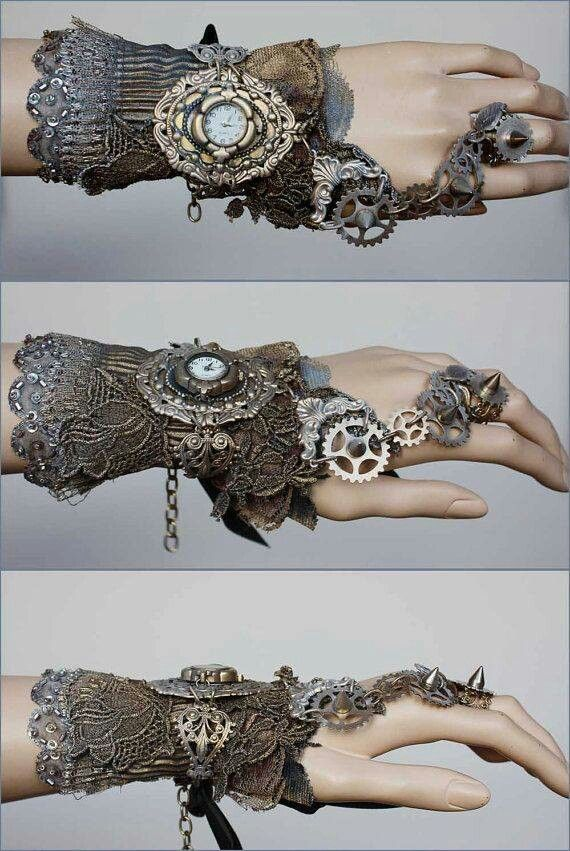 Steampunk fashion. laceembelished with chains beads and buttons. the cuff joined to a ring is a really nice idea it gives the theme of growing and entwining round the body like ivy would