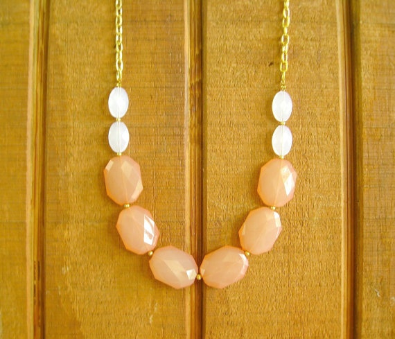 Peach Coral long statement necklace Coral by ThatsmineBoutique, $26.00