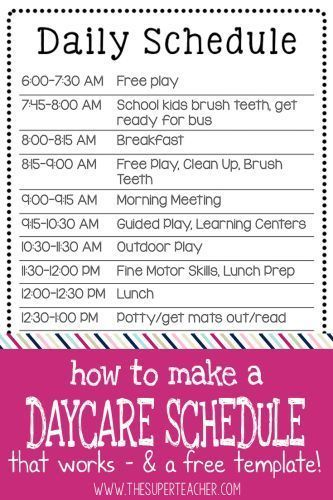 lunch schedule template