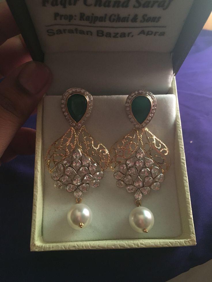 Kundan and Diamond Earrings  #Lovly#Design#indian#gold#kundan