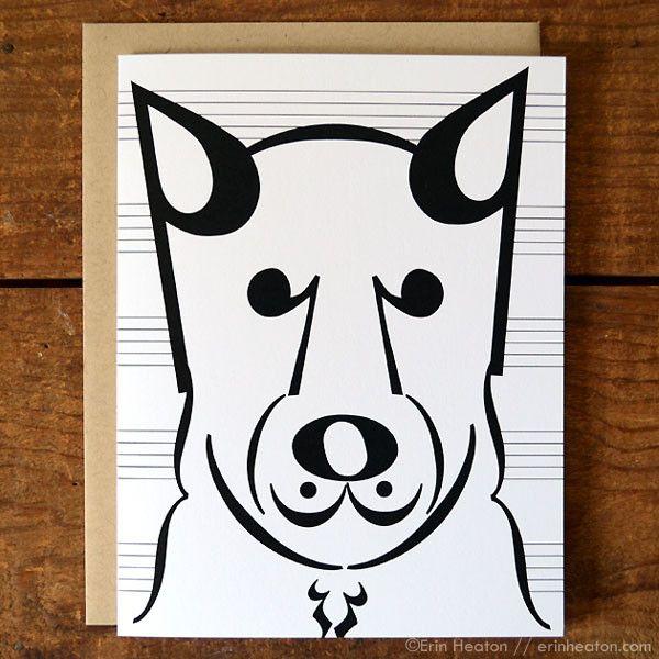 "Dog Series: ""Coda"" Music Note Card"