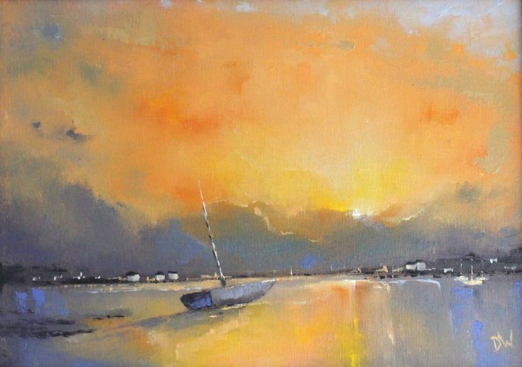 ARTFINDER: End of Day II by Dan Wellington - Original oil painting depicting the last rays of sun across the harbour at low tide. I painted this from photographs taken during my many visits to coastal s...