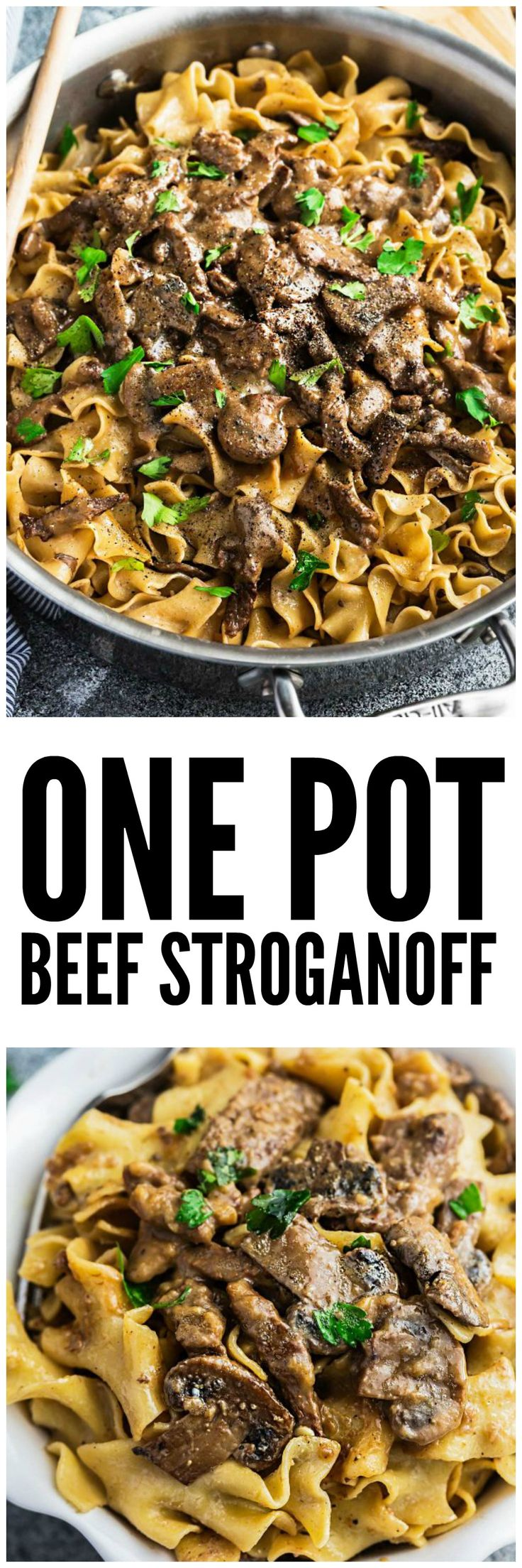 One Pot Beef Stroganoff - all the delicious flavors you love about this classic comfort food made easier in just ONE pan! Strips of tender beef, soft egg noodles coated in a creamy mushroom sauce and perfect for busy weeknights!