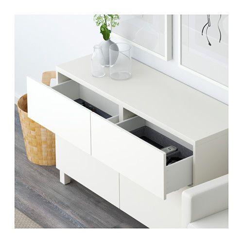 BESTÅ Kombinacja regałowa z drzw/szuf - Lappviken biały, prowadnica, wciśnij-otwórz - IKEA