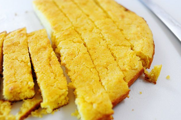 My favorite cornbread.  I like to add sharp cheddar, sauteed jalapenos and honey.  OH MAH GAH.